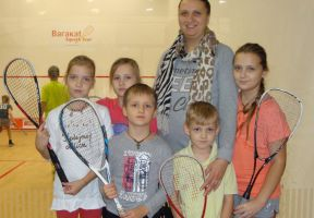 Squash master-class was held for the children from large families.