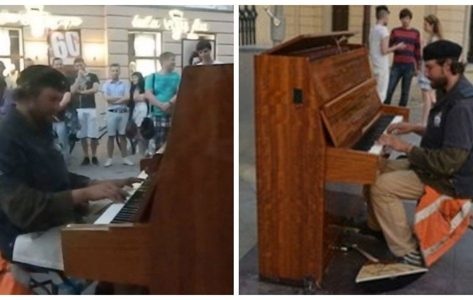 A homeless person got a hand, playing street piano in Lviv.