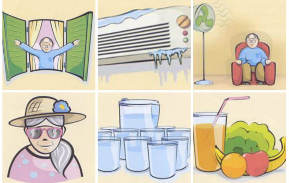 14 advices of how to help aged persons in hot weather.