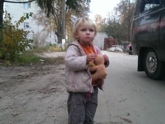 A lost two-years old little girl was found by homeless person at the bus-stop near Chabany village